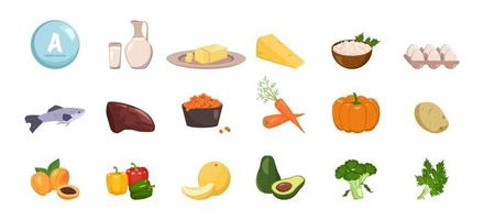 Source of vitamin A. Set of vegetable, fruit and herb. Diet food vector