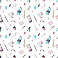 Seamless pattern with a bottle of nail polish and manicure tools vector