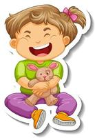 Sticker template with a little girl cartoon character isolated vector
