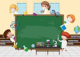 Empty blackboard with scientist kids cartoon character vector