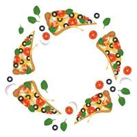 Bright round frame with pizza slices. Fast food print with vegetables and cheese and herbs. Design for pizzeria menu, paper, cafe and restaurant vector