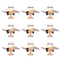 woman avatar with emotions, black hair, face, glasses and  summer hat vector