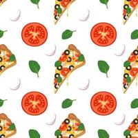 Bright background with slices of pizza, arugula, tomatoes and onions. Fast food print with vegetables and cheese. Design for textile, paper, cafe and restaurant vector