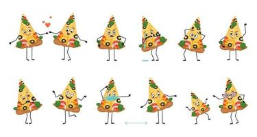Set of cute pizza characters with emotions, face, arms and legs vector