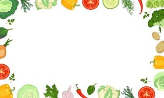 Frame made of vegetables with cabbage, peppers, tomatoes and onions vector