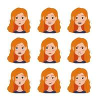 Set of facial expressions avatars of  woman with red hair vector