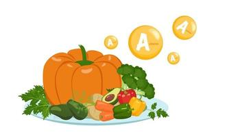 Source of vitamin A. Set of vegetables and herbs on the plate vector
