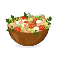Homemade salad of vegetables, herb, shrimp and cheese in a wooden bowl vector