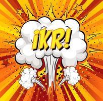Texto ikr sobre explosión de nube cómica sobre fondo de rayos vector