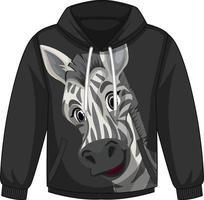 parte delantera del suéter con capucha con estampado de cebra vector