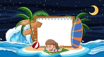 Kids on vacation at the beach night scene with an empty banner vector