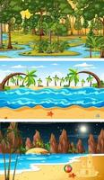 Set of different types of forest horizontal scenes vector
