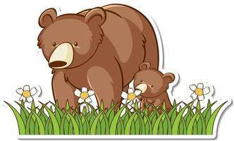 Grizzly bear mom and baby sticker vector
