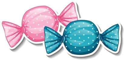 Wrapped sweet candies sticker on white background vector