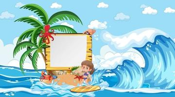 Empty banner template with kids on vacation at the beach daytime scene vector