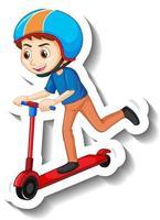A boy riding scooter cartoon character sticker vector