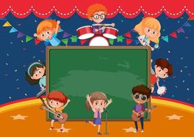 Empty blackboard with kids playing different musical instruments vector