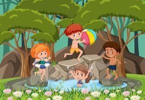 Happy kids at the waterfall vector