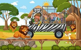 Safari scene with kids on tourist car watching lion group vector