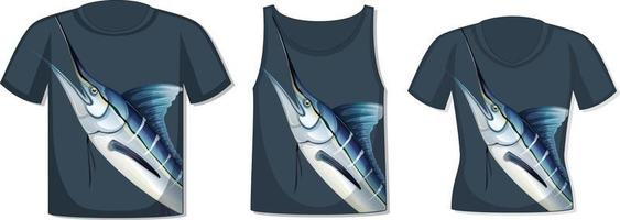 Front of t-shirt with marlin fish template vector