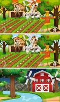 Different farm scenes with old farmer and animal cartoon character vector