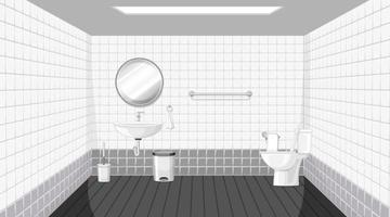 Diseño de interiores de baño con muebles. vector