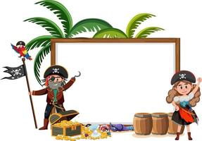 Two pirate cartoon character with blank banner template isolated vector