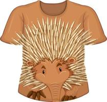 Front of t-shirt with echidna pattern vector
