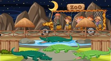 Safari at night scene with many kids watching alligator group vector