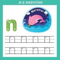 Ejercicio de letra del alfabeto n-narval, ilustración de vector de concepto de corte de papel