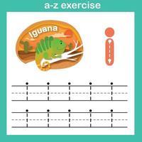 Letra del alfabeto i-iguana ejercicio, ilustración de vector de concepto de corte de papel