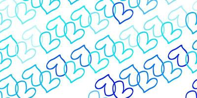Light BLUE vector backdrop with sweet hearts.
