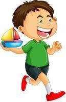 Happy boy cartoon character holding a toy ship vector