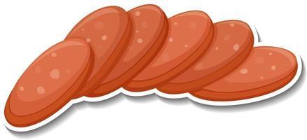 Salami sausage sticker on white background vector