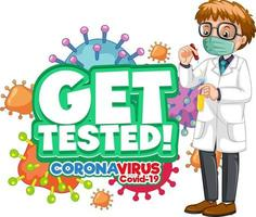 Get Tested font with a doctor man cartoon character isolated vector