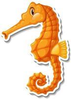 Cute seahorse sea animal cartoon sticker vector