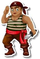 Sticker template with a pirate boy cartoon character isolated vector