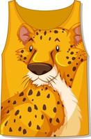Front of tank top sleeveless with leopard pattern vector