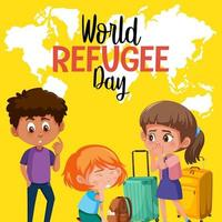 World Refugee Day banner with refugee people on world map background vector
