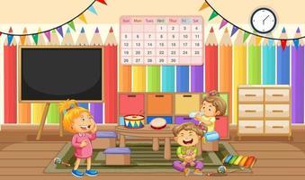 Kindergarten room scene with many little kids vector
