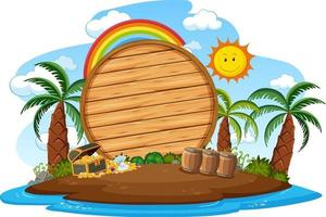 Empty wooden board on the island with many palm trees isolated vector