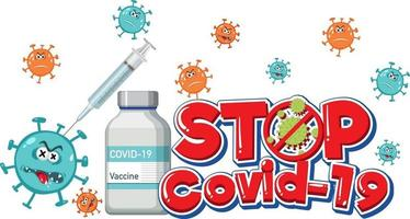 Stop Covid-19 logo or banner with covid-19 vaccine bottle vector