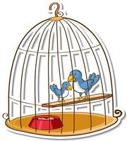 Two little birds in a cage sticker vector