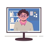 Chatting online. Man on the monitor screen. Work at home, freelance, vector