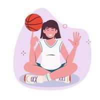 Teenager girl spinning basketball ball with finger. Full length illustration. Vector flat
