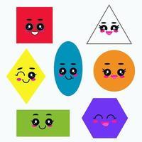 conjunto de formas simples. dibujos animados de figuras geométricas cómicas para la educación. vector