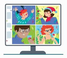 Online party with friends. Celebrating Christmas and new year vector