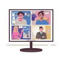 Video conference and remote working on computer. vector