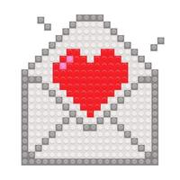 Red heart in envelope with pixel brick blocks toy. Vector