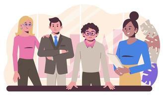 grupo de trabajadores de oficina en el lugar de trabajo. Departamento vector